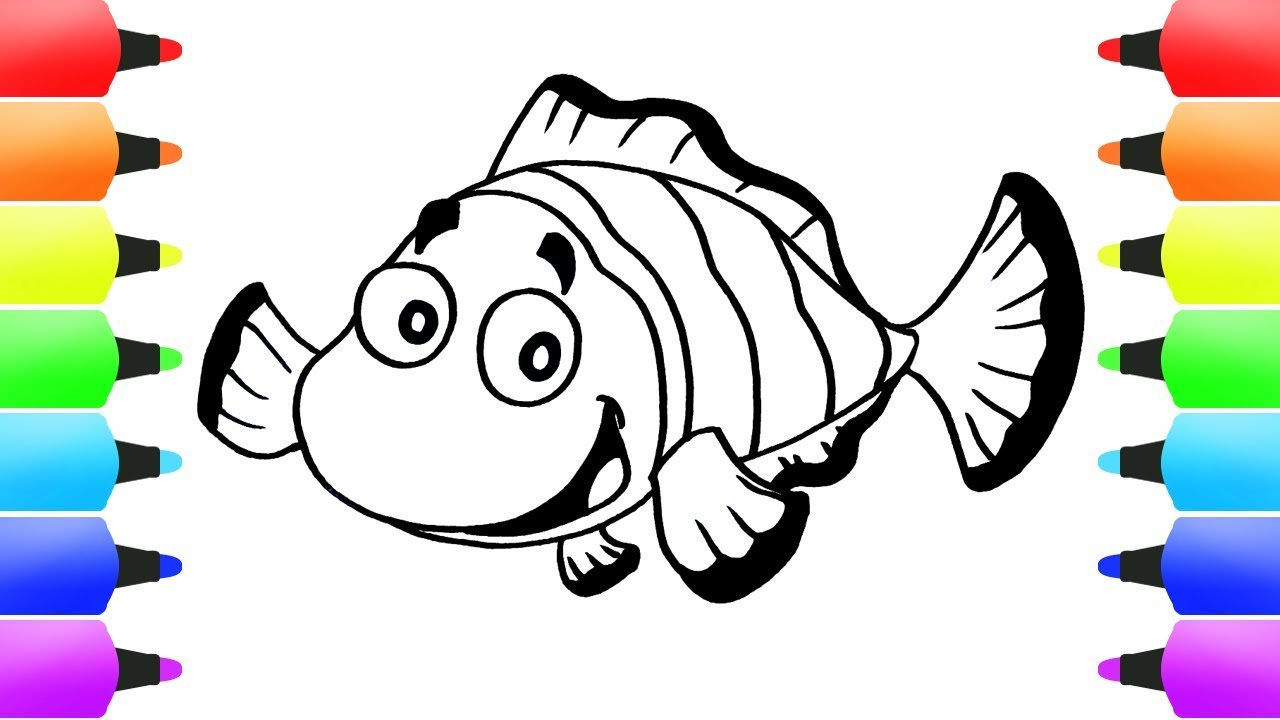 How To Draw Clownfish Coloring Pages Clown Fish Drawing Videos