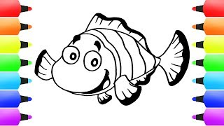 How to Draw Clownfish Coloring Pages   Clown Fish Drawing Videos for Children