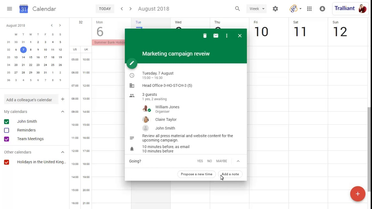 How to propose new meeting times in Google Calendar