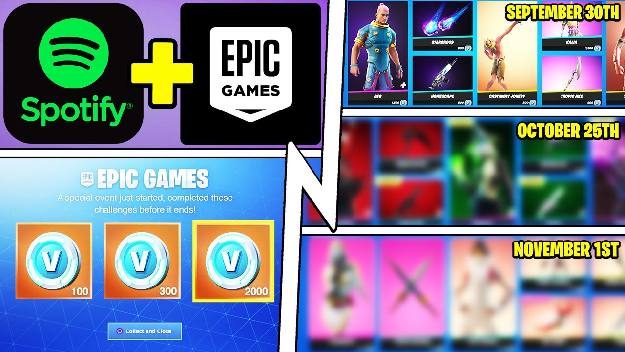 Fortnite x Spotify, 100 Item Shops Leaked, Loot Fight FREE VBUCKS Event!
