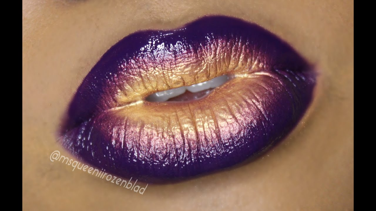 Bold Lips - Ombre lip tutorial -Purple and Gold - Queenii Rozenblad ... Eyeliner