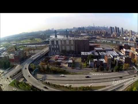 Drone flying over Mott Haven New York City