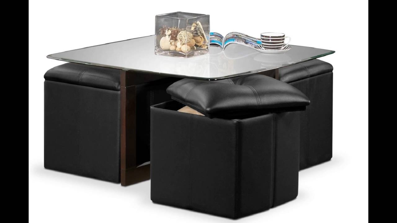 coffee table with ottomans underneath - youtube