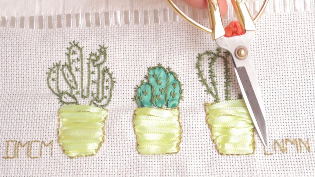 bordado a mano con cintas o listón* cactus * toalla bordada ...