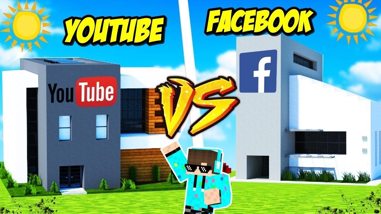 Tantangan Build Kantor Youtube Vs Facebook Mana Yang Keren Di Minecraft Youtube