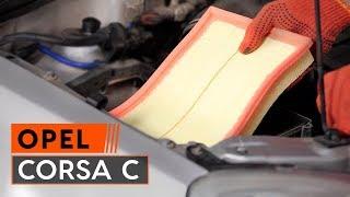 Cómo y cuándo cambiar Elemento filtro de aire OPEL CORSA C (F08, F68): vídeo tutorial