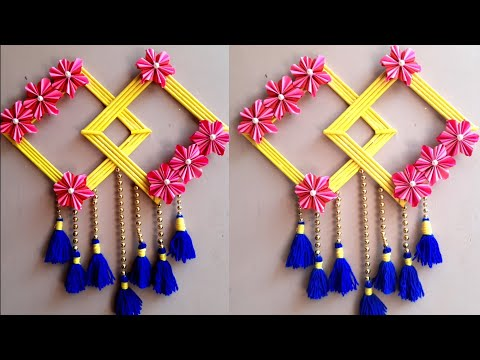 Paper wall hanging design | Paper Craft | Easy Woolen and Paper Flower Wall Hanging