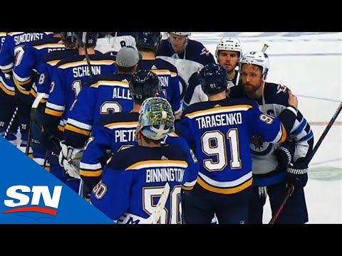 Jets & Blues Shake Hands After Winnipeg Gets Bounced From Playoffs