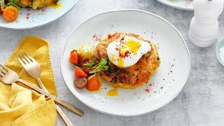 Easy bubble and squeak turkey fritters with poached eggs
