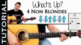 Como tocar What´s Up de 4 Non Blondes en guitarra tutorial con acordes y ritmo