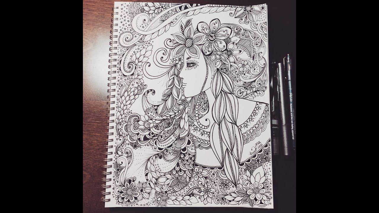 Zentangle Inspired Woman Doodle