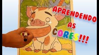 Aprendendo as Cores com Puá da Moana! Aprender brincando! Disney Crayola Mess free