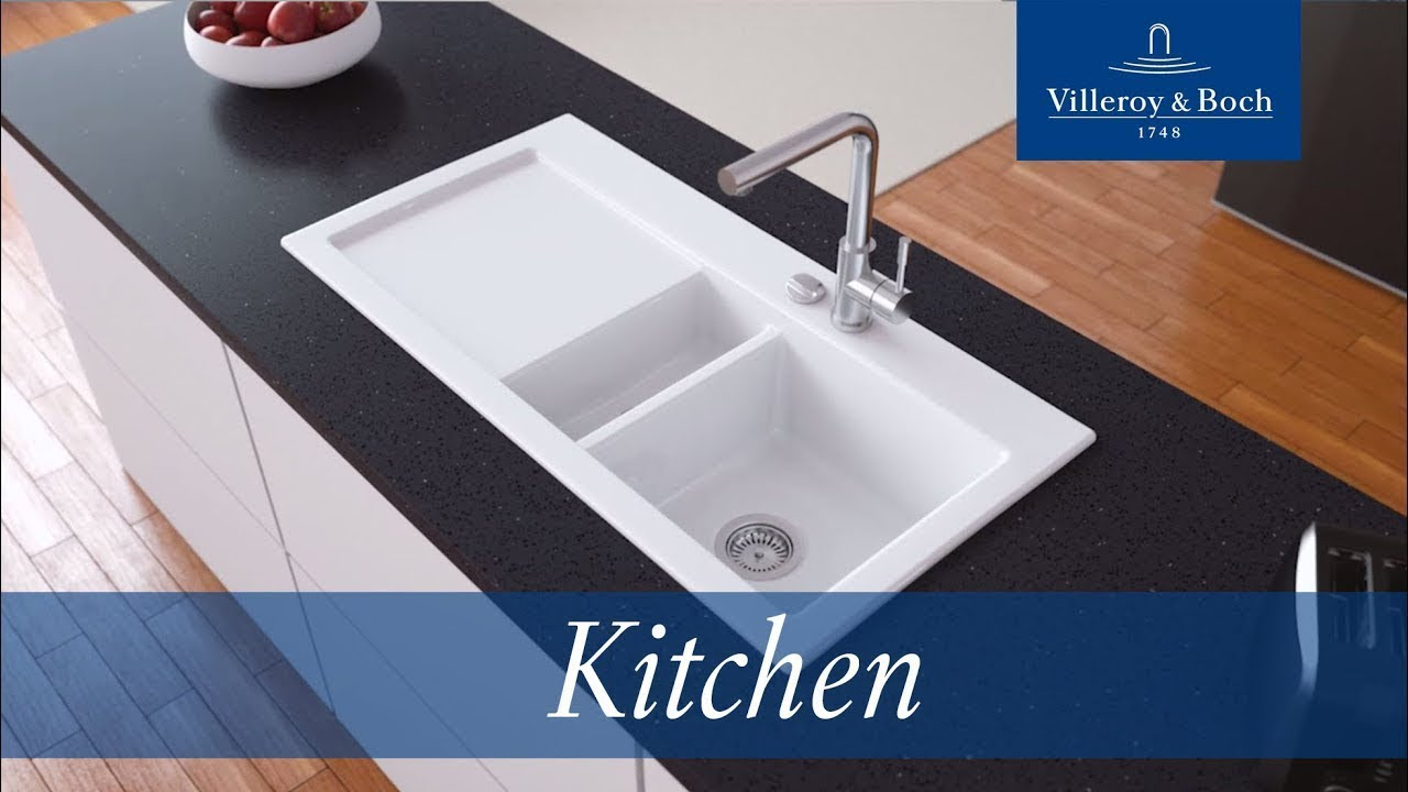 Installation surface-mounted kitchen sinks | Villeroy & Boch - YouTube