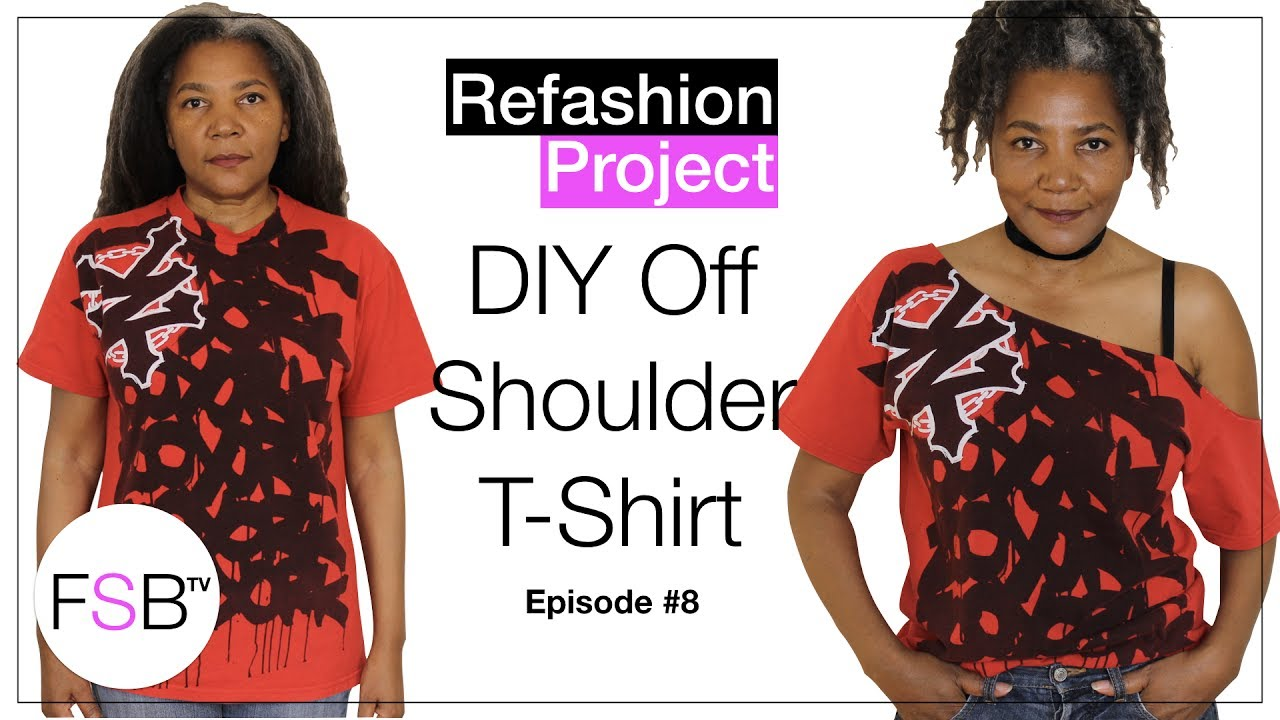 Diy Off The Shoulder T Shirt