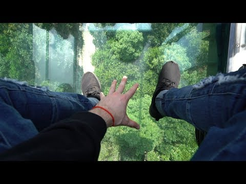 Afraid of Heights !! See Through Glass Cable Car Scare