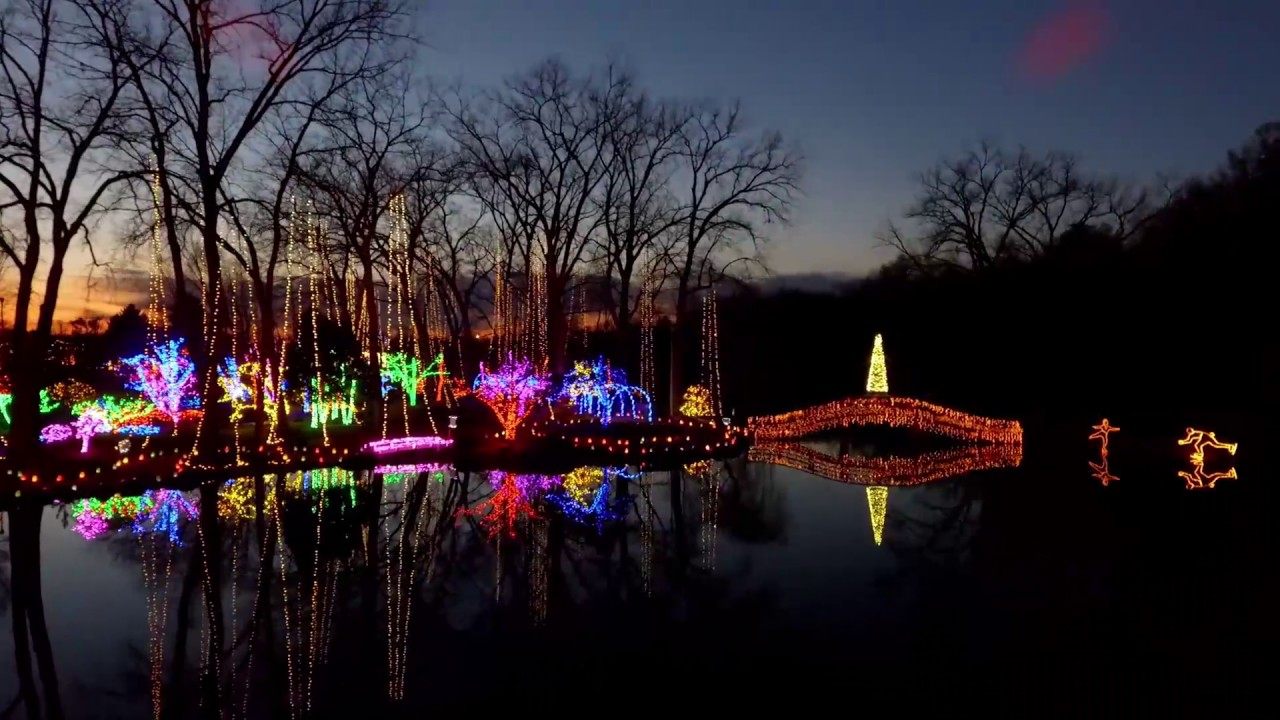 drone over rotary gardens holiday light show youtube