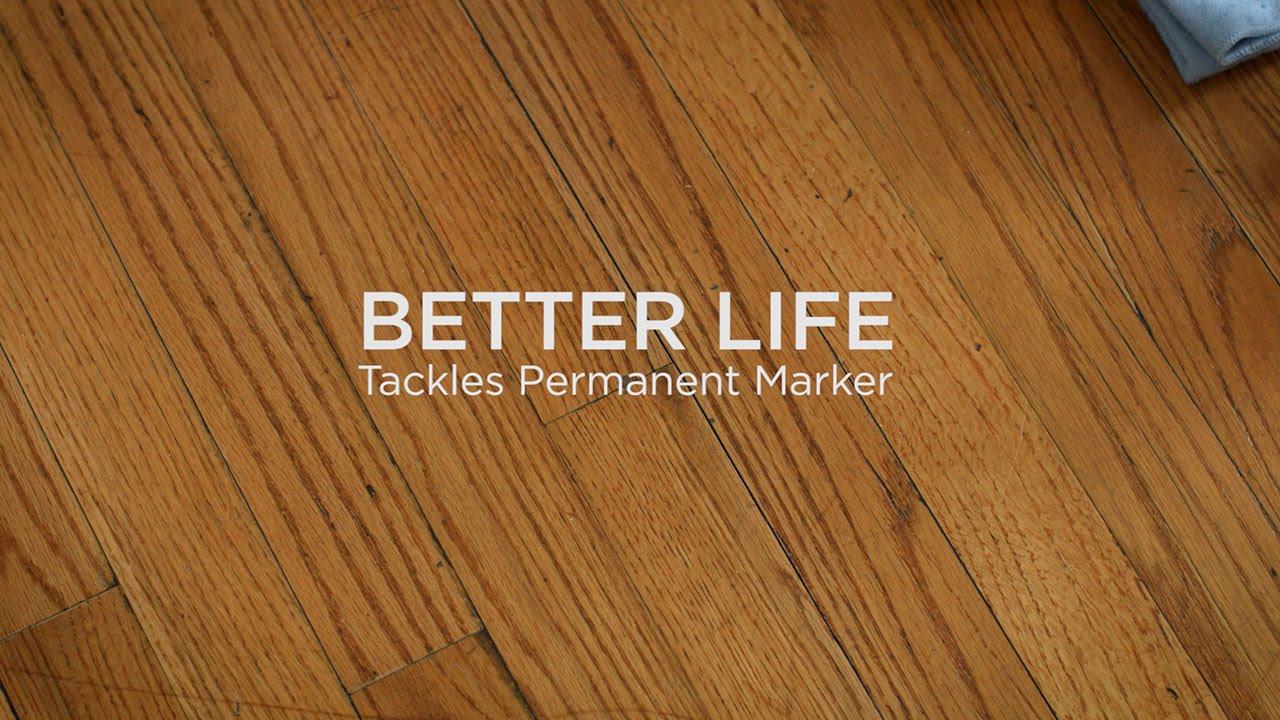 Better Life Natural Kitchen Bath Scrubber Tackles Sharpie On Hardwood Floor