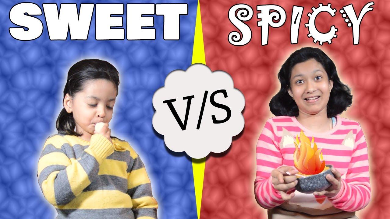 Download Sweet vs Spicy Challenge #Funny #Kids   Tasty snacks for kids   Cute Sisters