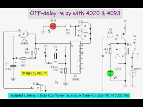 Relay Wiring Diagram 5 Pin Scosche Loc2sl Off-delay With 4020 & 4093 - Youtube