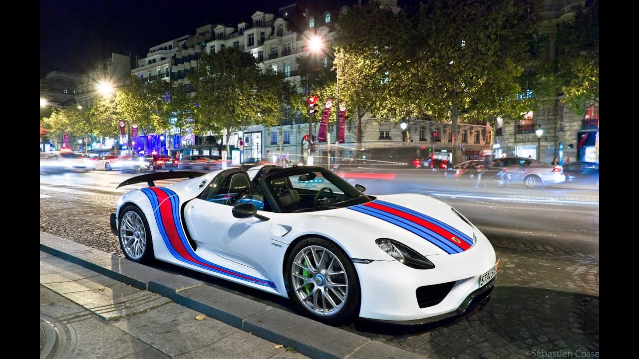 porsche 918 spyder weissach package martini electric mode paris youtube. Black Bedroom Furniture Sets. Home Design Ideas