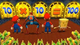 Mario Party 9 MiniGames - Mario Vs SpongeBob Vs Luigi Vs Spider Man (Master Difficulty)