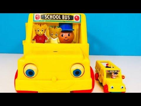 Vintage FISHER PRICE Little People School Bus FIELD TRIP with Daniel Tigers Neighbourhood Toys!