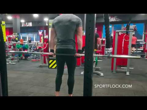 STANDING PALMS UP BARBELL BEHIND THE BACK WRIST CURL
