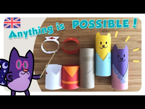 CRAFT to TEACH the PROFESSIONS ✂️ Easy and fun 🧻 Homemade TOYS RECYCLED 🐾 Gato Rainbow & Gata Moon
