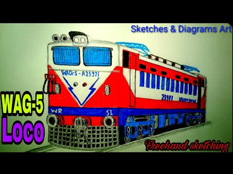 Indian Electric WAG-5 LOCOMOTIVE DRAWING - YouTube