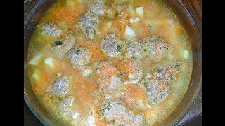 Фасолевый суп с фрикадельками в микроволновке