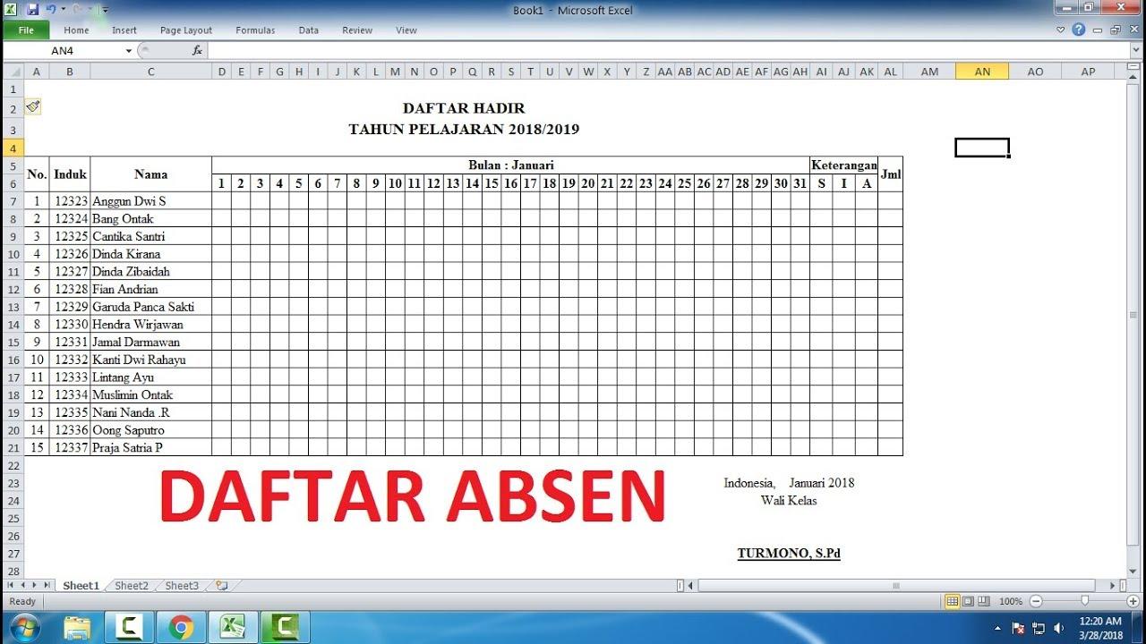 Cara Membuat Daftar Absen untuk 1 Bulan di Excel (Panduan Lengkap) - YouTube
