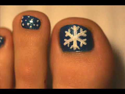 Toe nails design snowflakes youtube prinsesfo Image collections