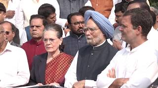 Congress President Smt Sonia Gandhi leading the opposition protest against the murder of democracy