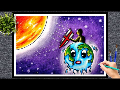 world ozone day drawing easy/poster on ozone day/protection of ozone layer drawing