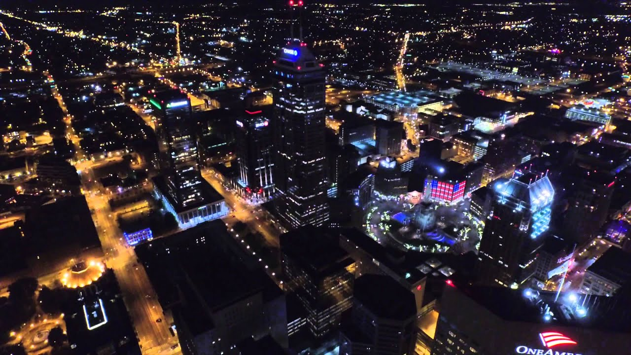 Night Veiw Of Indianapolis From The Top Aerial Drone