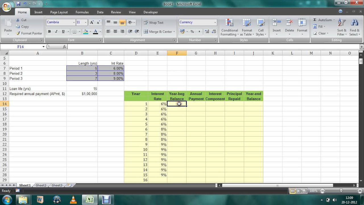 excel loan amortization schedule changing annual interest rates