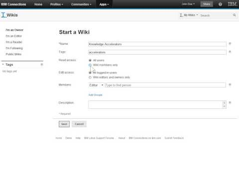 IBM Connections 4.0      Create a Wiki