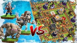 Amazing Attacks - Ice Wizard/Giant Skeleton/Golem Vs Town Hall 11 - Clash of Clans Private Server