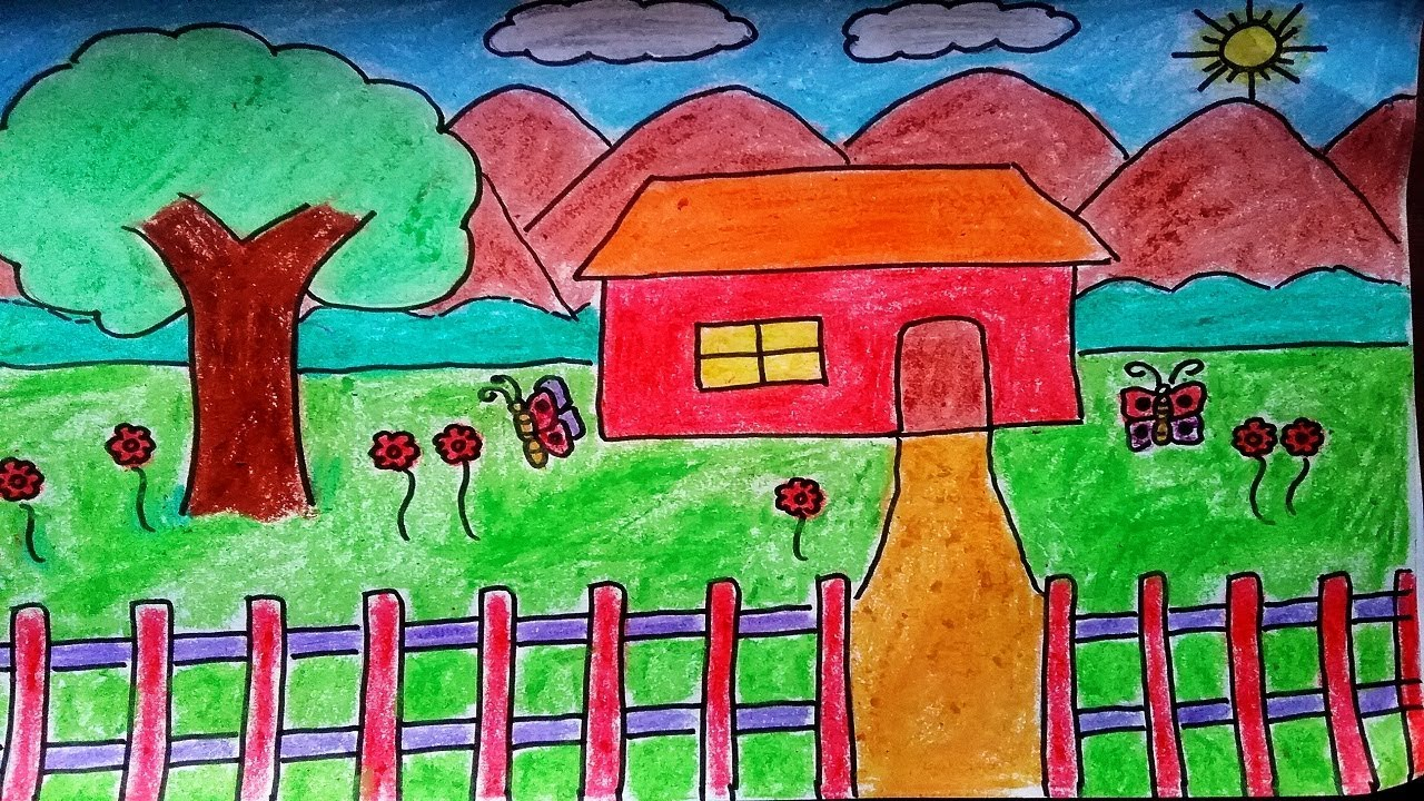 How To Draw A Landscape Scenery Of House With Garden. Drawing Coloring House  With Crayons For Kids