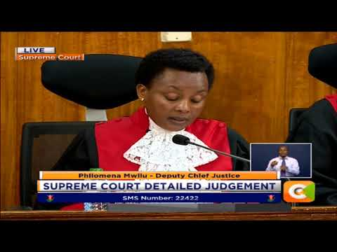 Deputy Chief Justice  Philomena Mwilu reads out detailed judgement