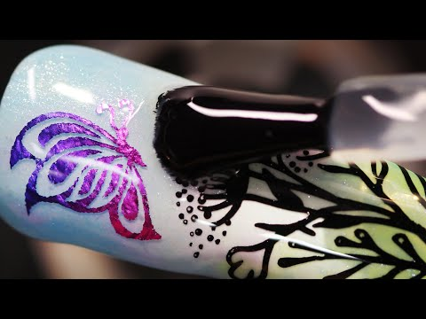 How To Create Nature Beauty Butterfly Foil Water Decal Nail Art Design (Part 2)