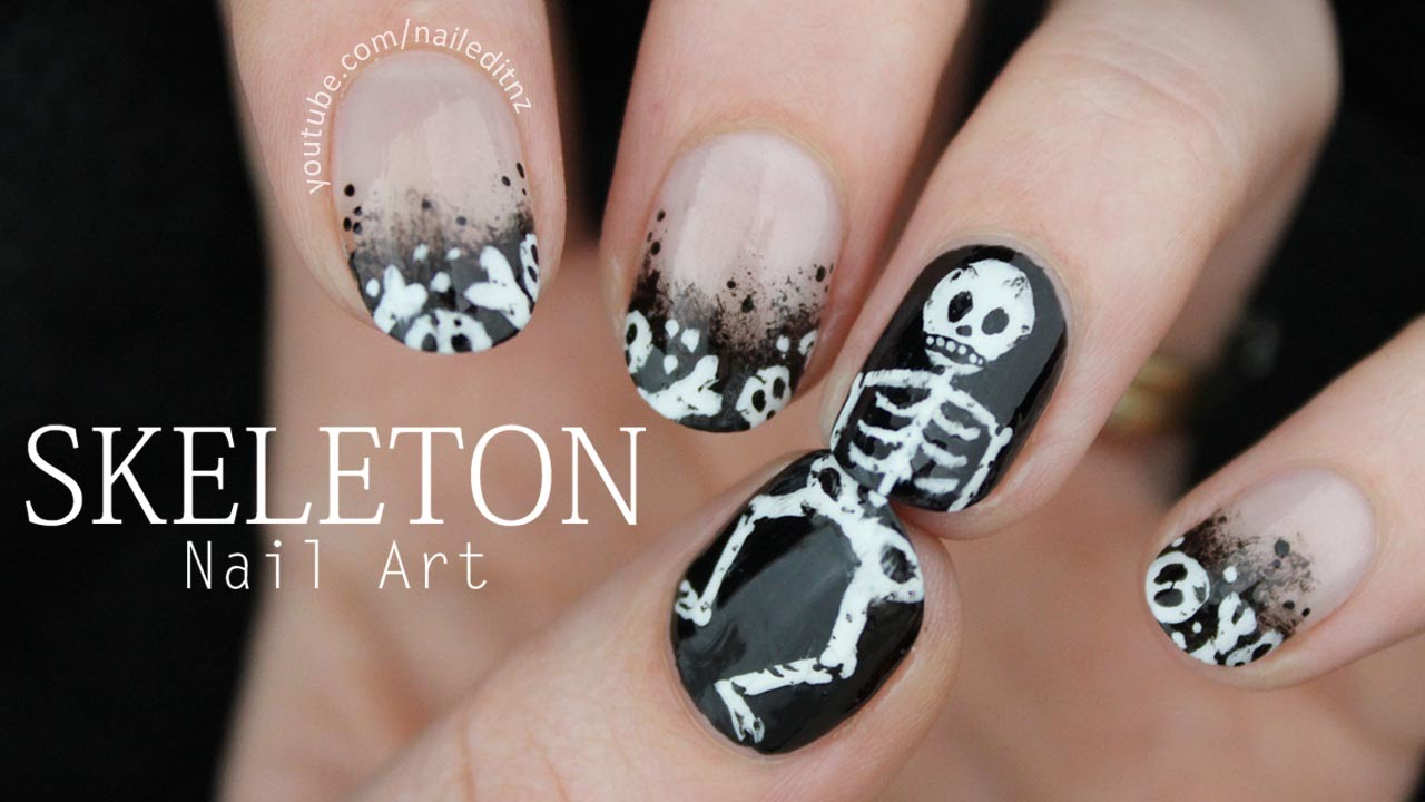 Spooky skeleton nails halloween nail art youtube prinsesfo Images