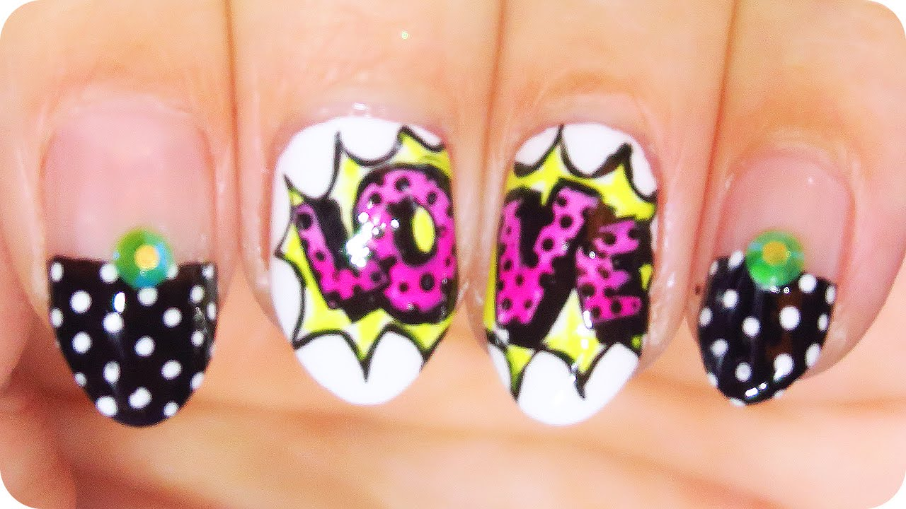 Valentines Day Pop Art Nail Art Tutorial Nail Art At Home Youtube