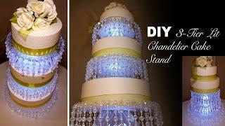 DIY | 3-Tier Lit Chandelier Wedding Cake Stand
