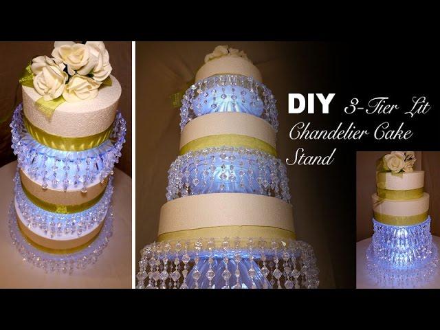 Diy 3 Tier Lit Chandelier Wedding, Diy Chandelier Cake Stand