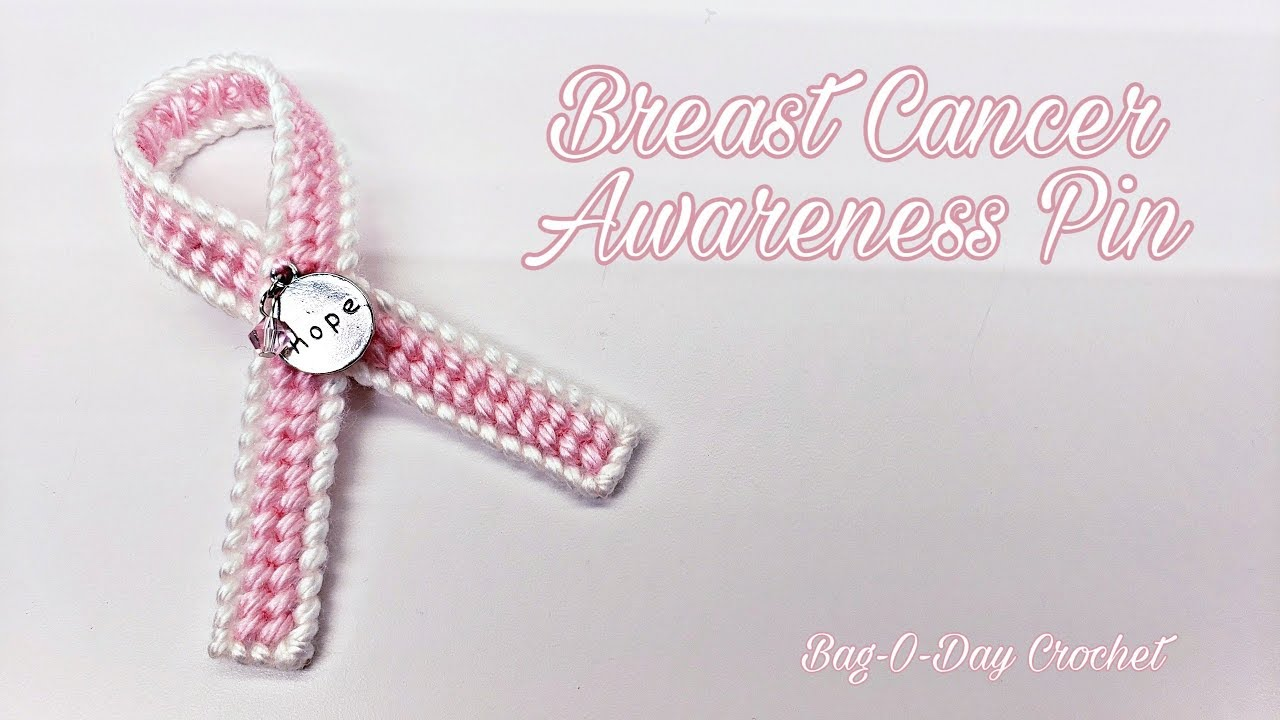 How to make a Breast Cancer Awareness Ribbon Pin   Plastic Canvas   Bag O  Day Crochet TUTORIAL #525