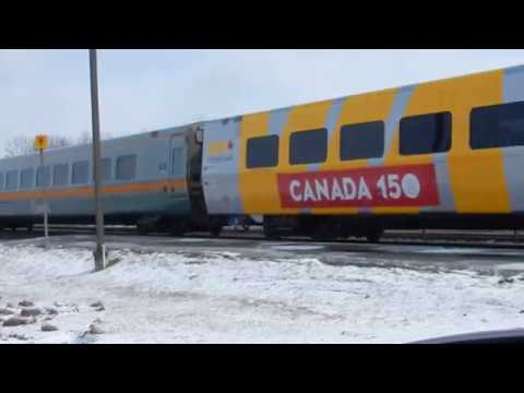 CANADA 150! VIA No 63 At Kingston With Coach 3329 On March 11, 2017