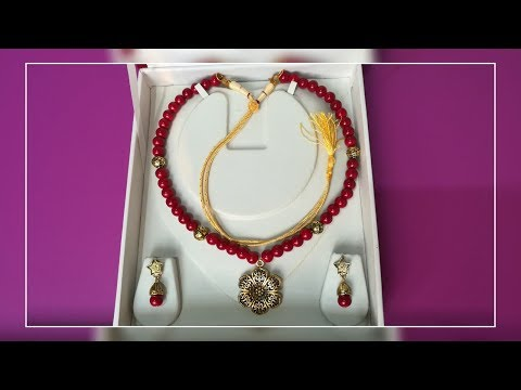 DIY|| Make Beautiful Red Pearl Jewellery Set with Pendant in 5minutes at Home!! || World of Artifact