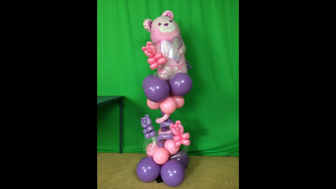 super cute baby shower balloon centerpiece diy tutorial youtube