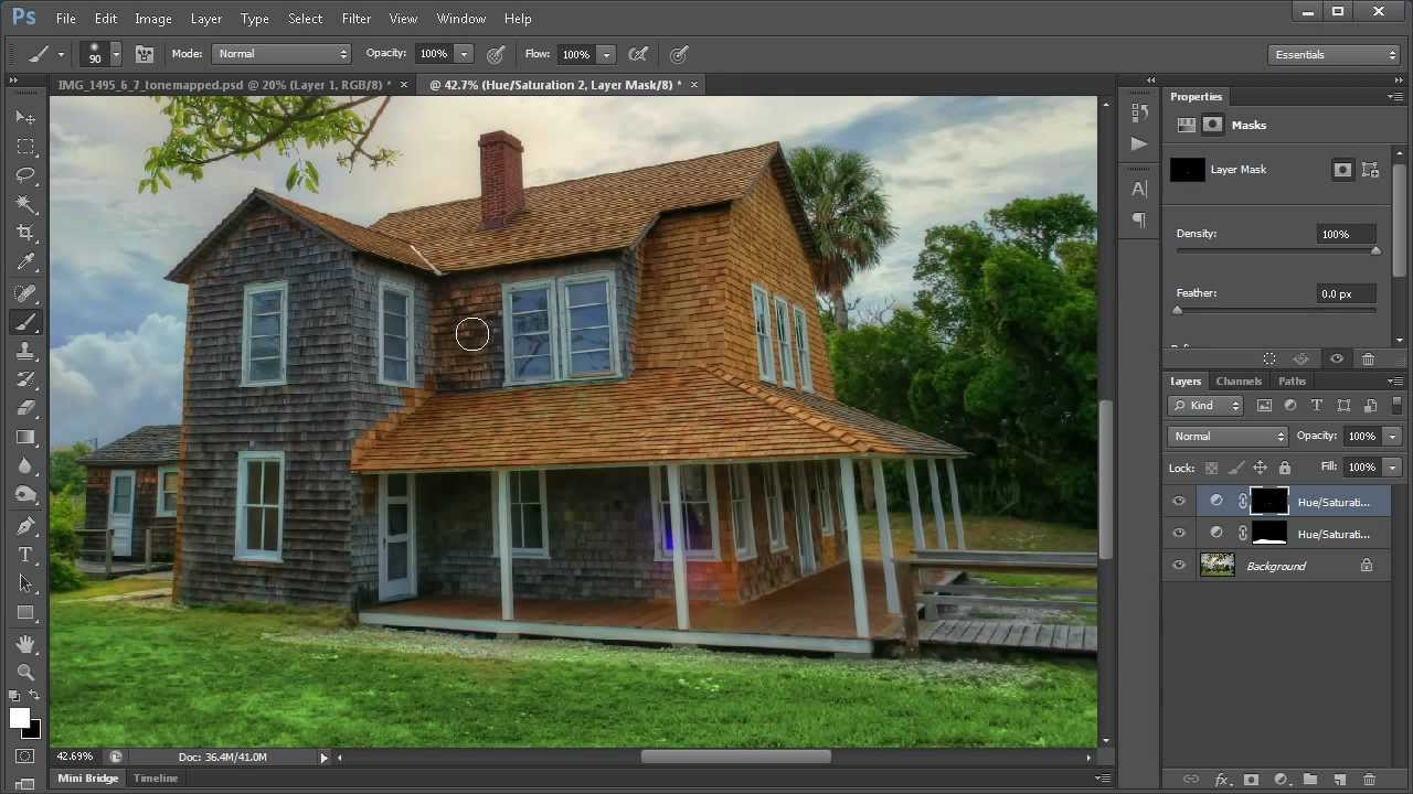 Photoshop tutorial how to make grass green and paint a for How to make house green